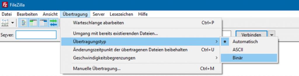 Filezilla Übertragungstyp auswählen